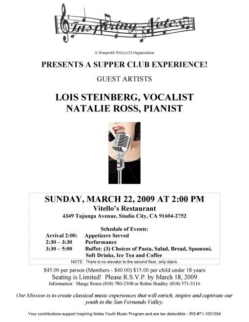Inspiring Notes Concert at Vitellos-March 22, 2009